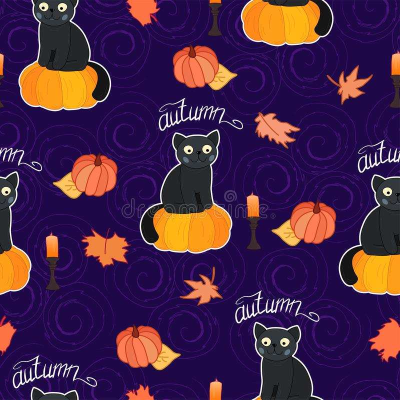 Adorable cartoon cat sit on pumpkin with fall leaves on dark curls background seamless pattern, halloween wrapping paper. Autumn season decoration, greeting vector illustration
