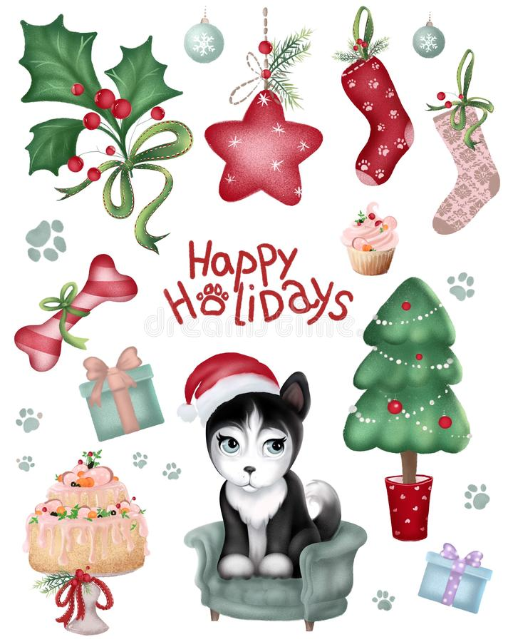 Adorable cartoon Christmas elements set. Cute Siberian husky puppy, Christmas tree, stickers collection vector illustration