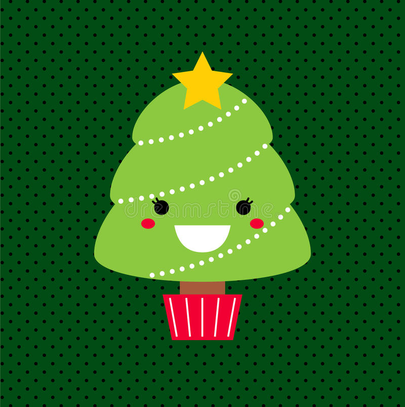Adorable Cartoon Christmas Kawaii Tree Royalty Free Stock Photos