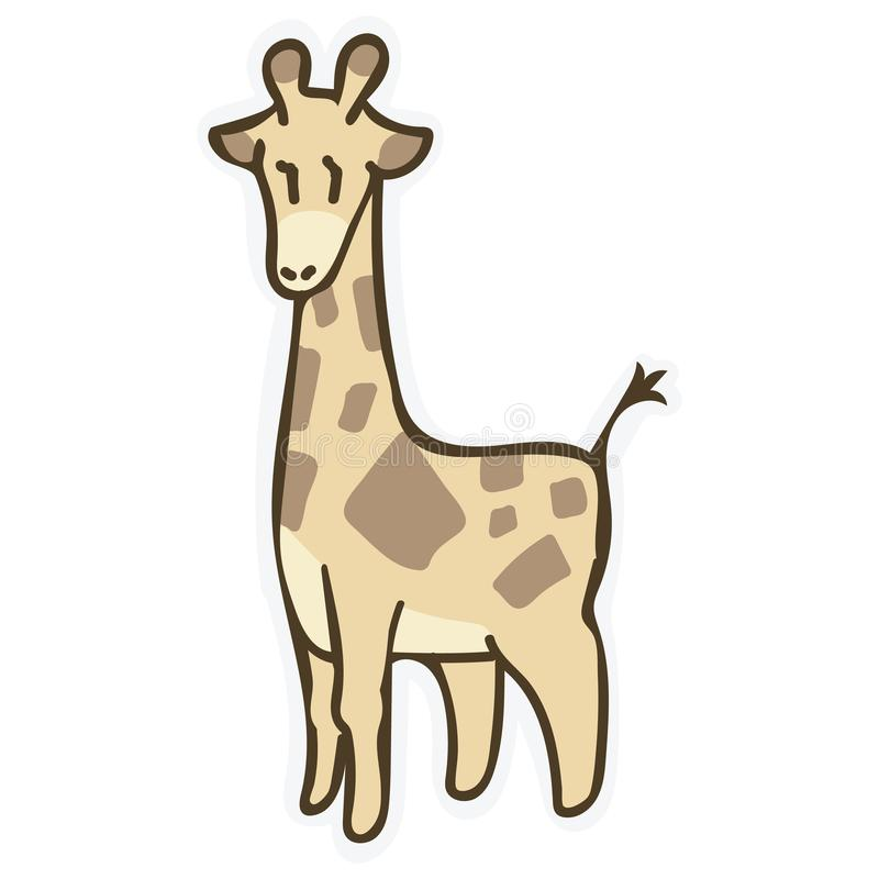 Adorable Cartoon Giraffe Clip Art. Safari Animal Icon. Hand Drawn Kawaii Kid Motif Illustration Doodle in Flat Color vector illustration