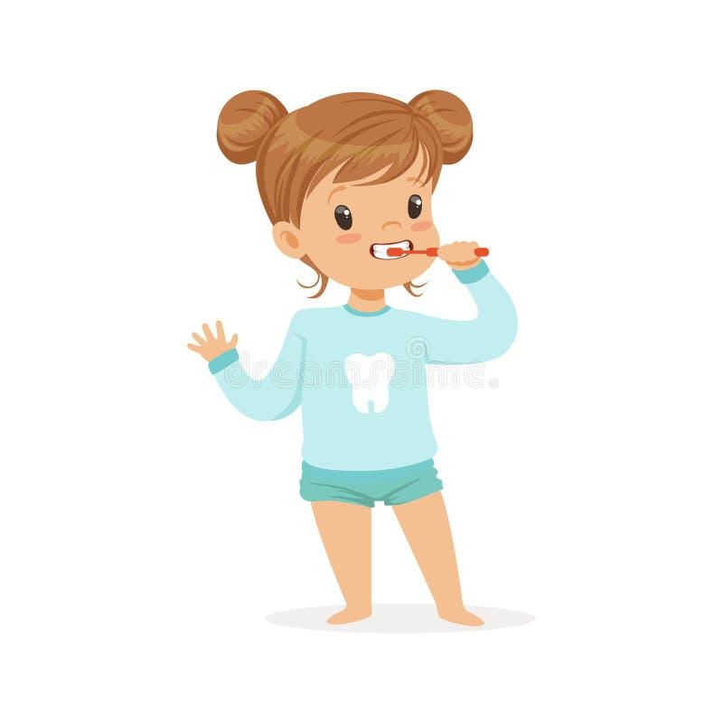 Adorable cartoon girl brushing her teeth, kids dental care vector Illustration. On a white background royalty free illustration
