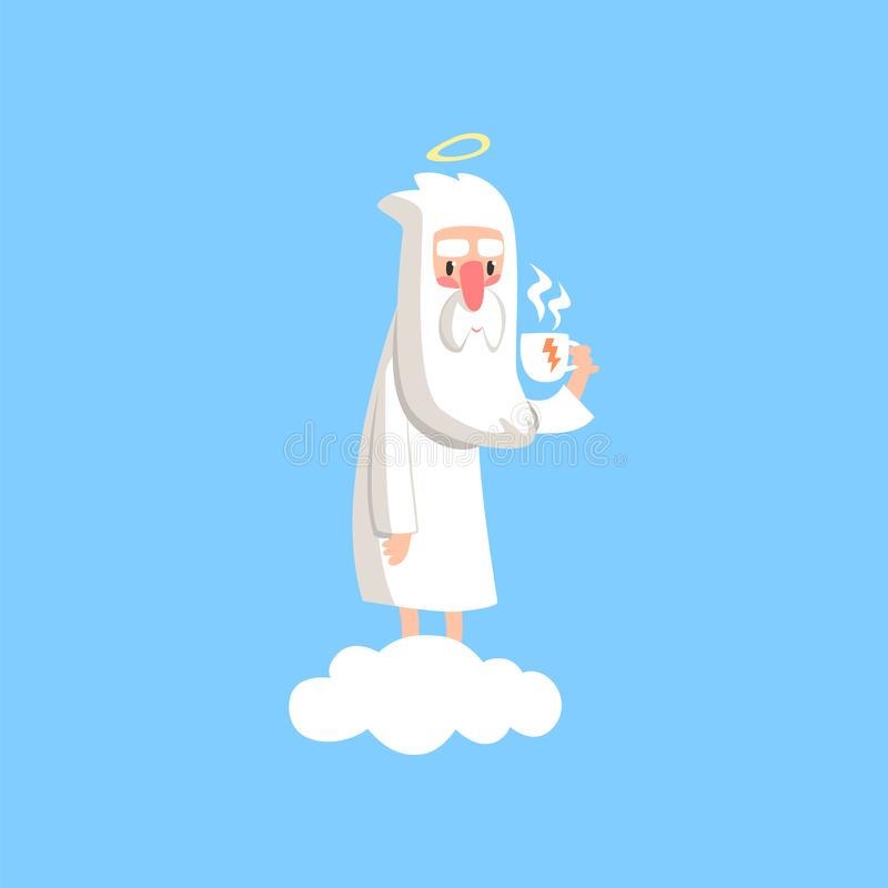 Adorable cartoon god character standing on white cloud with cup of tea. Bearded man creator with halo on his head. Flat. Adorable cartoon god character standing stock illustration