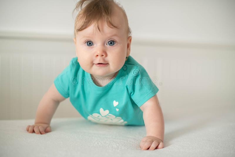 Adorable Caucasian baby girl with blue eyes trying to stand up and walk, looking at the camera calmly with a smile. Cute baby facial expressions and learning royalty free stock image