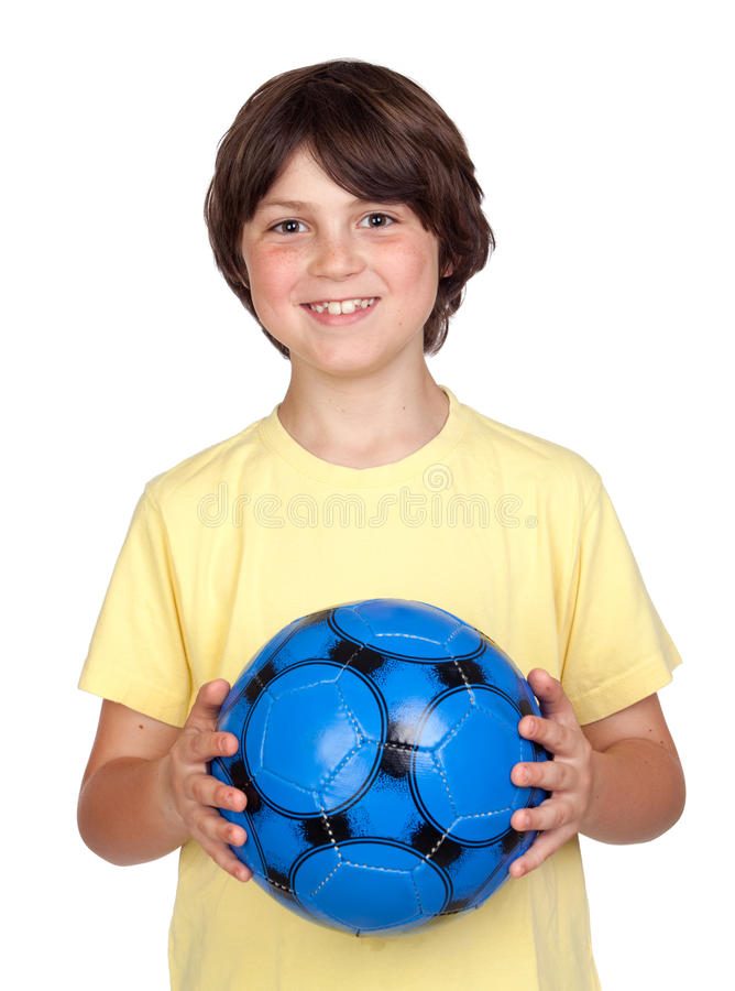 Download Adorable Child With A Blue Soccer Ball Stock Photo - Image: 14618522