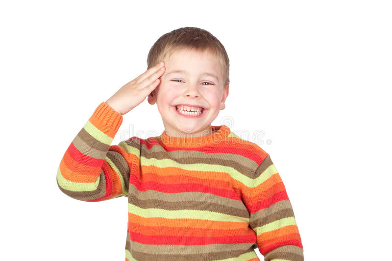 Adorable child doing a military salute stock images