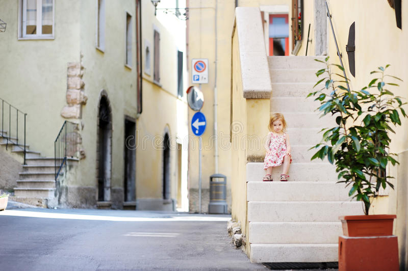 Download Adorable Child Sitting On The Stairs Stock Image - Image: 20703735