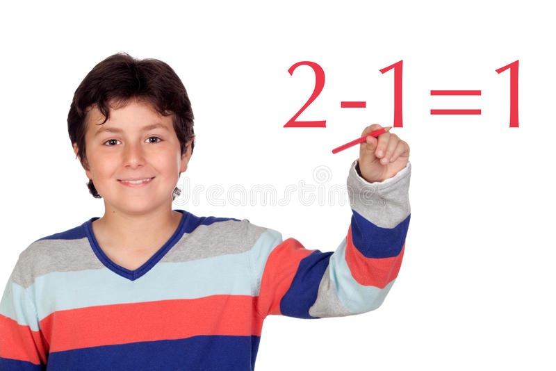 Download Adorable Child Student Writing A Math Operation Stock Photo - Image: 27580660