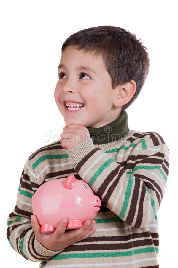 Adorable child thinking what to buy with their sav stock photos