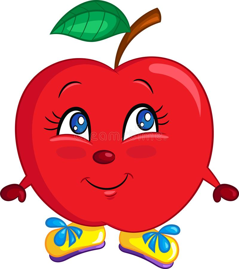 Adorable color kawaii drawing of a cute little apple, happy, with shoes, for children`s book stock illustration