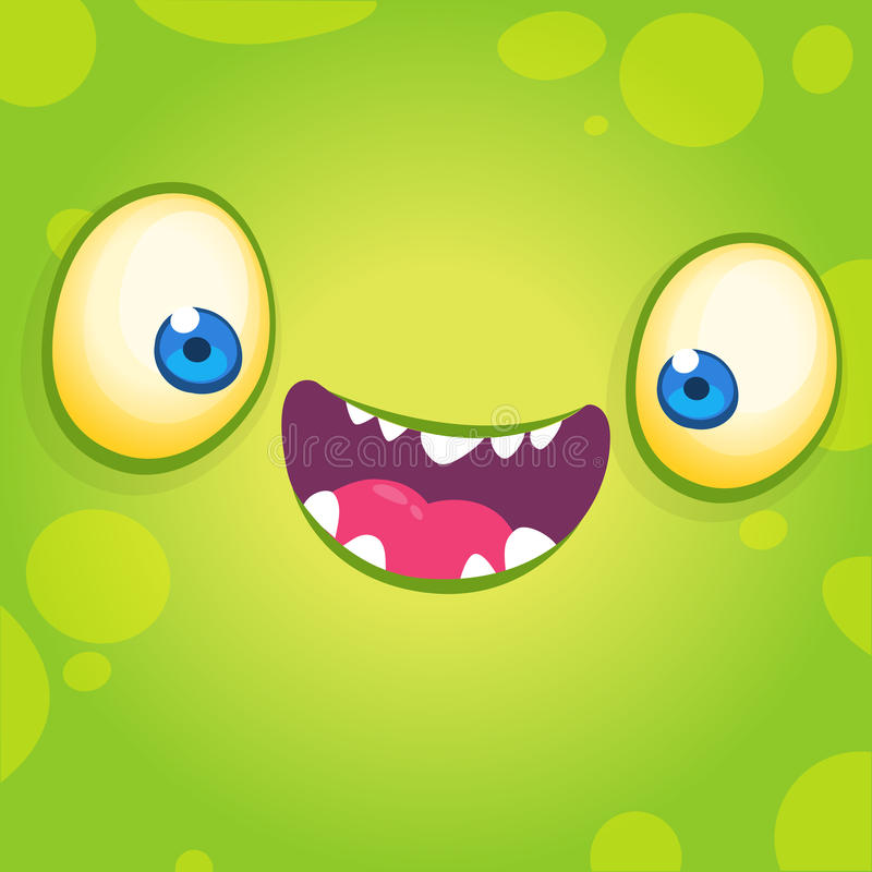 Adorable cool cartoon monster face. Halloween vector illustration of green smiling monster avatar. royalty free illustration