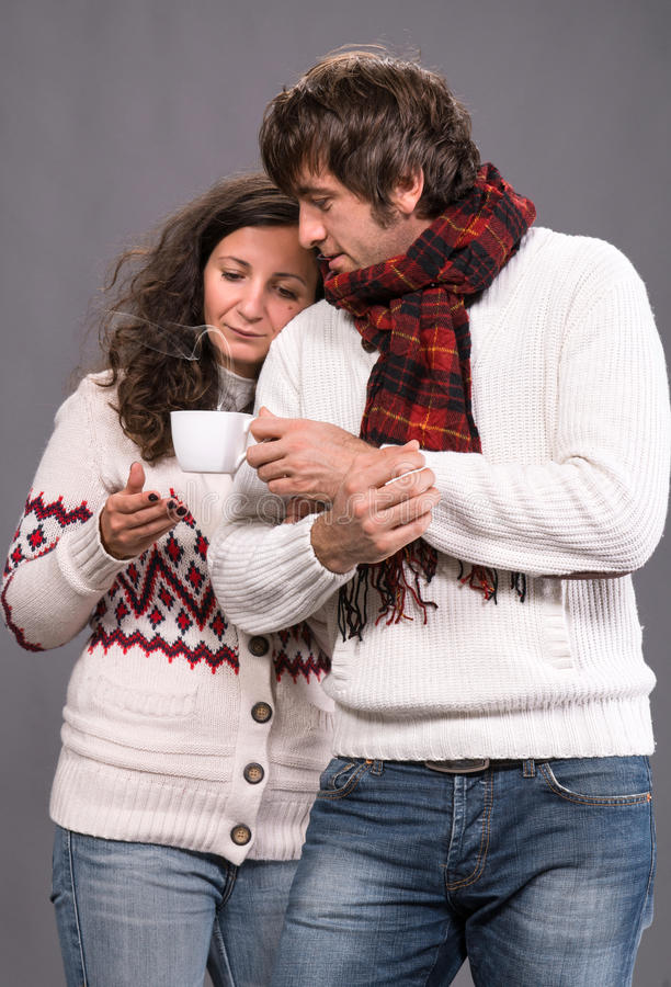 Download Adorable Couple Holding Cup Of Coffee Stock Image - Image: 34482671