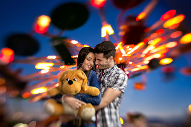 Adorable couple in love stock images