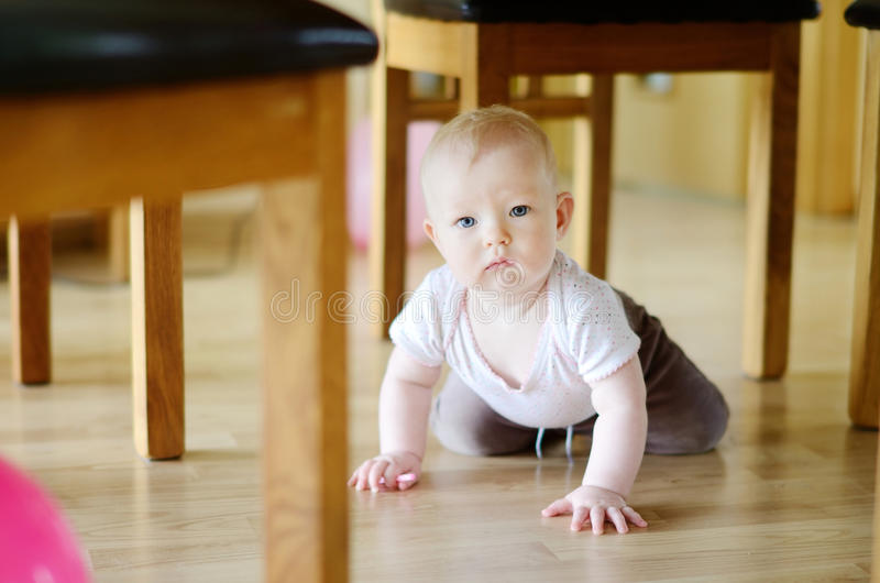 Adorable crawling baby girl stock photography