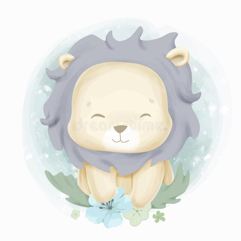 Cute baby lion water color. Adorable cute baby animal and balloon for your nursery room royalty free stock photos