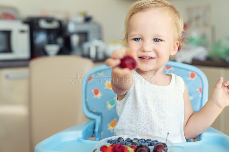 Adorable cute caucasian blond toddler boy enjoy tasting different seasonal fresh ripe organic berries sitting in highchair at home. Kitchen. Happy kid sharing stock photo