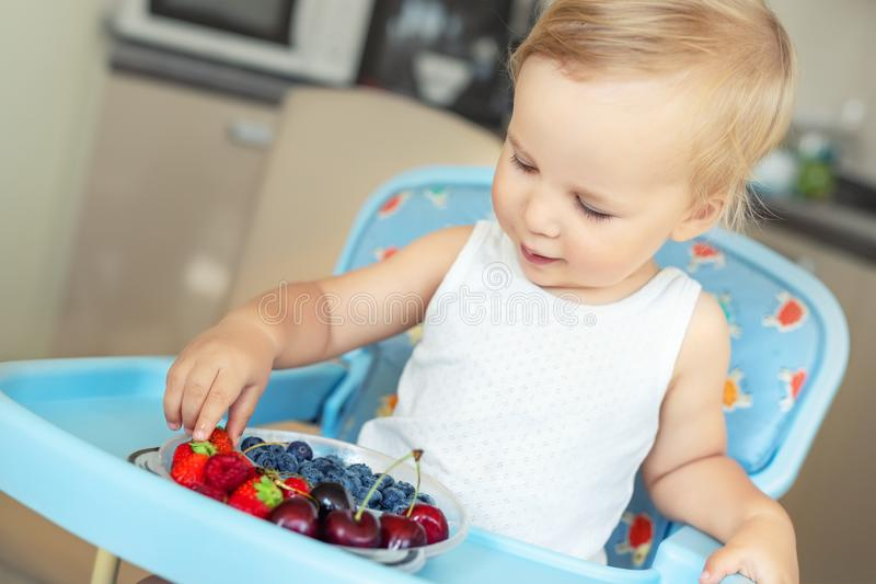 Adorable cute caucasian blond toddler boy enjoy tasting different seasonal fresh ripe organic berries sitting in highchair at home. Kitchen. Happy kid sharing stock photography