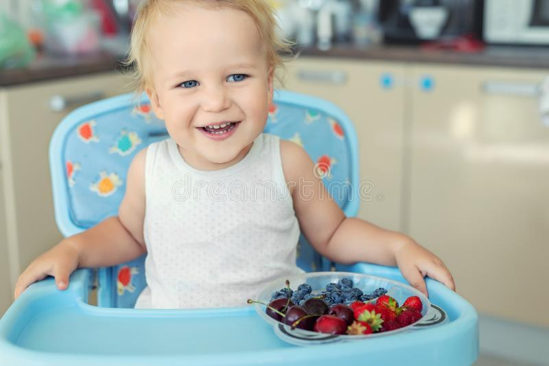 Adorable cute caucasian blond toddler boy enjoy tasting different seasonal fresh ripe organic berries sitting in highchair at home. Kitchen. Happy kid eating royalty free stock photos