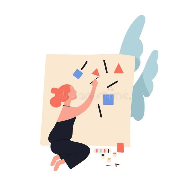 Adorable cute readhead woman painting abstract geometric shapes on canvas. Female contemporary artist creating picture stock illustration