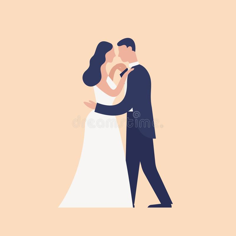 Adorable dancing newlyweds isolated on light background. First dance of cute romantic married couple. Wedding day. Celebration party or ball. Modern flat stock illustration