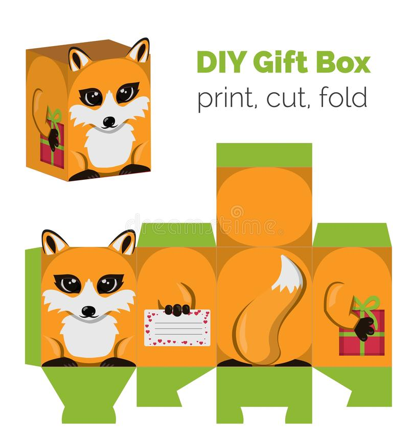 Adorable Do It Yourself DIY fox gift box with ears for sweets, candies, small presents. Printable color scheme. Print it on thick paper, cut out, fold royalty free illustration
