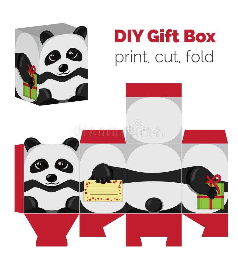 Adorable Do It Yourself DIY panda gift box with ears for sweets, candies, small presents. Printable color scheme. Print it on thick paper, cut out, fold vector illustration
