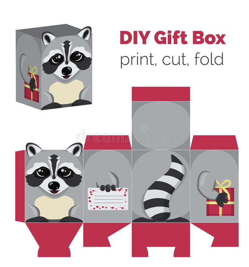 Adorable Do It Yourself raccoon gift box with ears for sweets, candies, small presents. Printable color scheme. Print it on thick paper, cut out, fold vector illustration