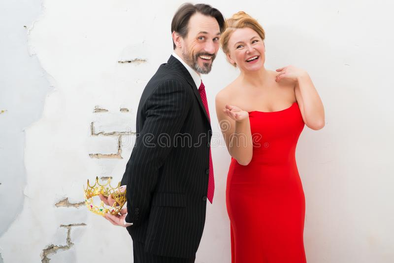 Adorable elegant couple expressing cheer while having a date royalty free stock images