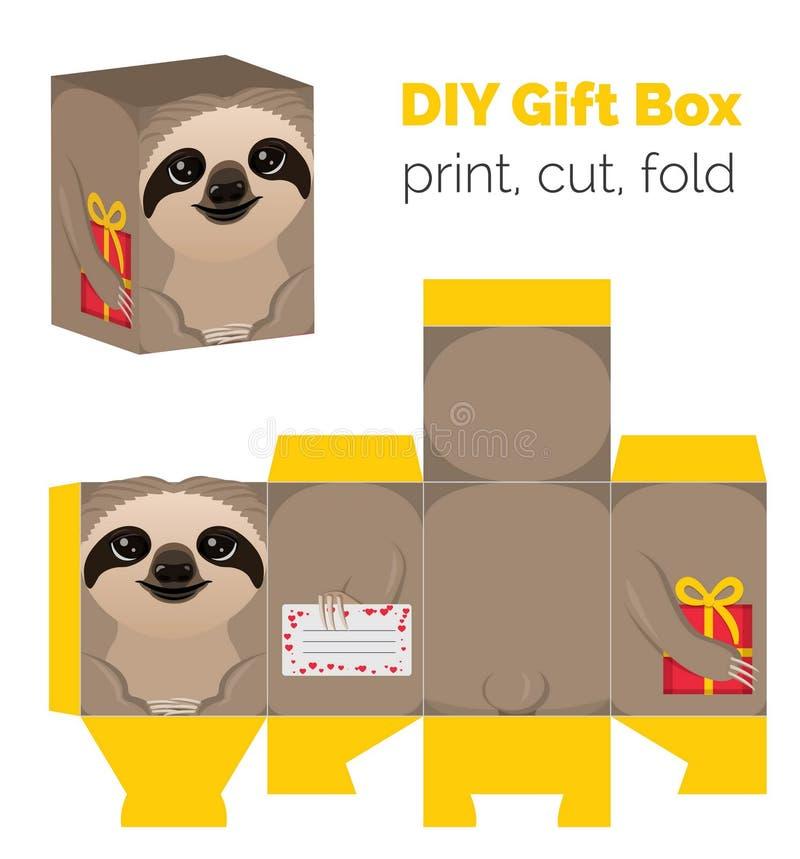 Adorable faites-le vous-même boîte-cadeau de paresse pour des bonbons, sucreries, petits présents illustration libre de droits