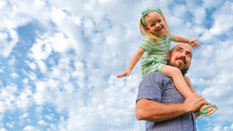 Adorable father daughter portrait, happy family, father`s day royalty free stock photo