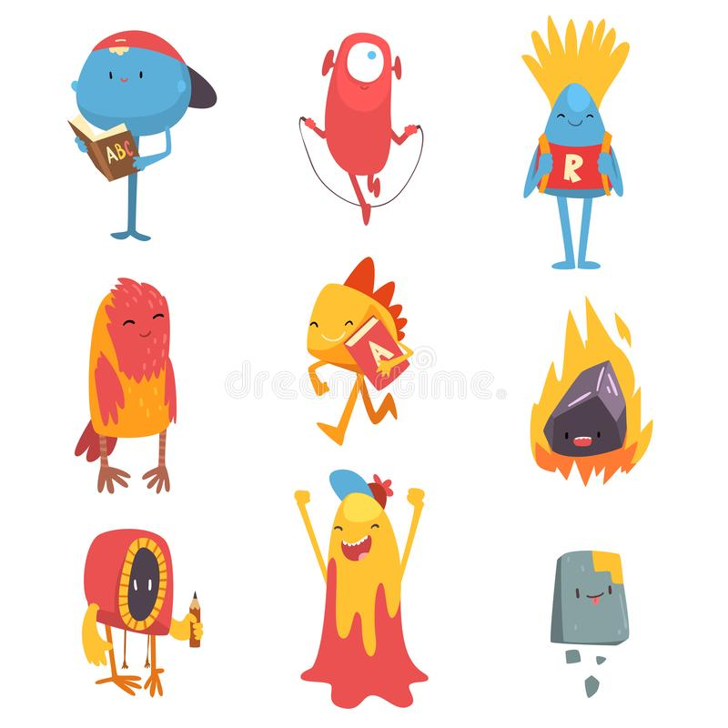 Adorable Freaky Monsters Set, Funny Friandly Colorful Aliens Cartoon Characters Vector Illustration. On White Background vector illustration
