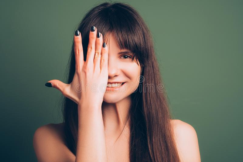 Adorable funny amused emotion girl portrait royalty free stock images