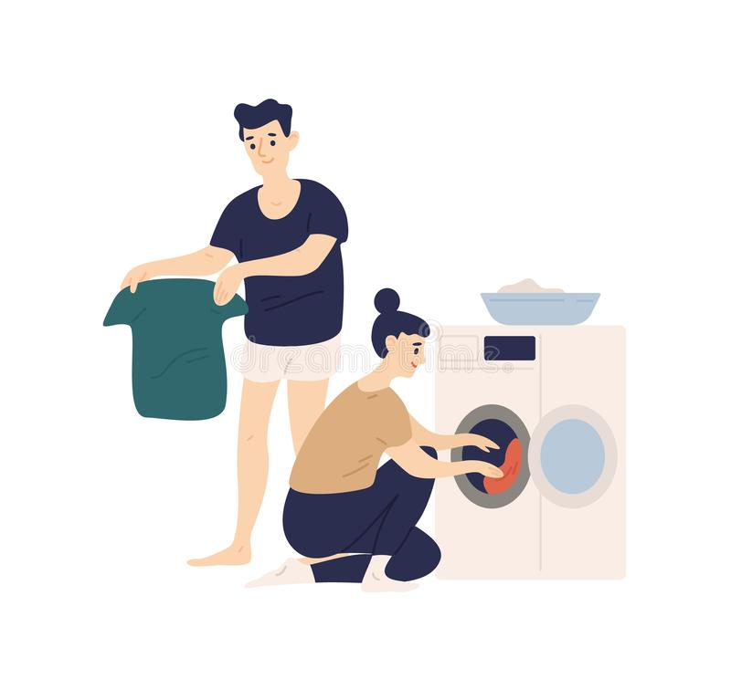 Adorable funny couple sorting clothes and putting it in washing machine. Cute smiling young man and woman doing laundry. Everyday life of modern spouses. Flat vector illustration