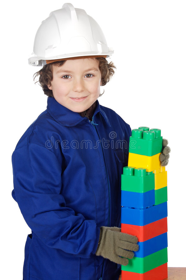 Free Adorable Future Builder Constructing A Brick Wall With Toy Piece Royalty Free Stock Photos - 1852968