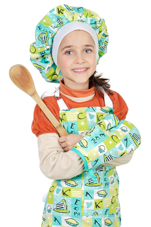 Adorable future cook. A over white background stock photo