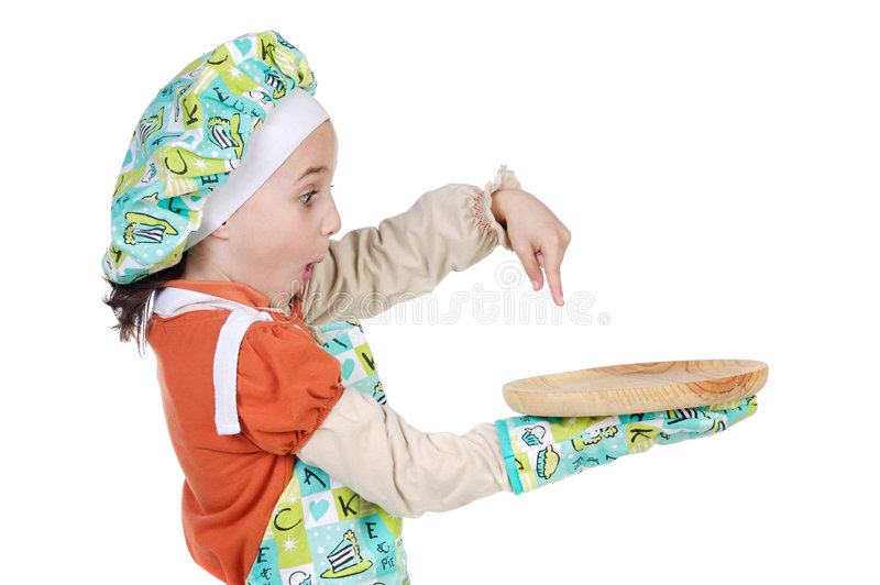 Adorable future cook. A over white background stock image