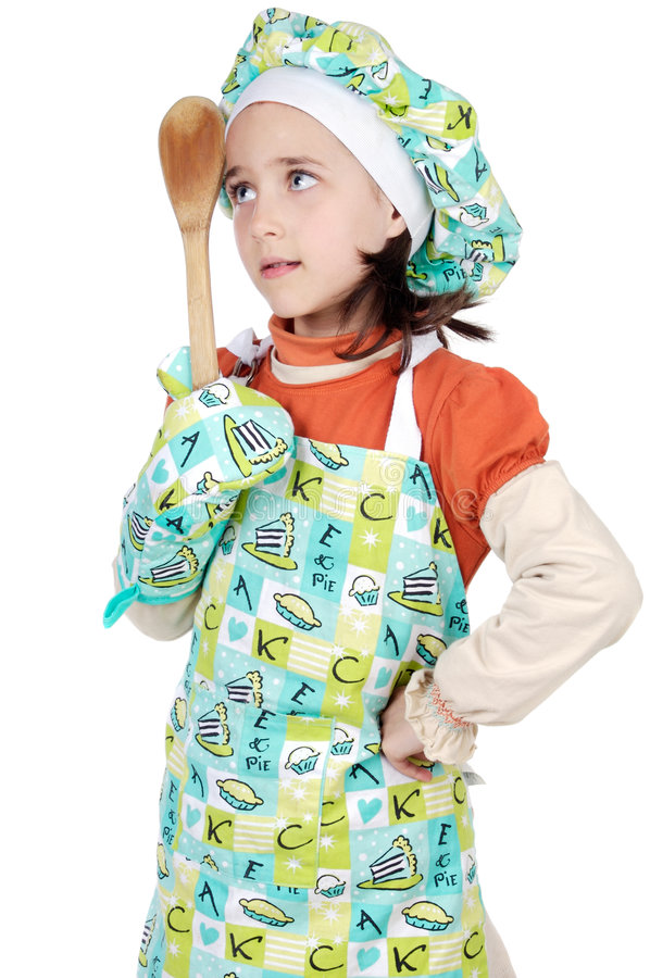 Adorable future cook. A over white background stock images