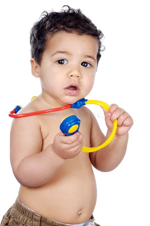 Adorable future doctor stock photo