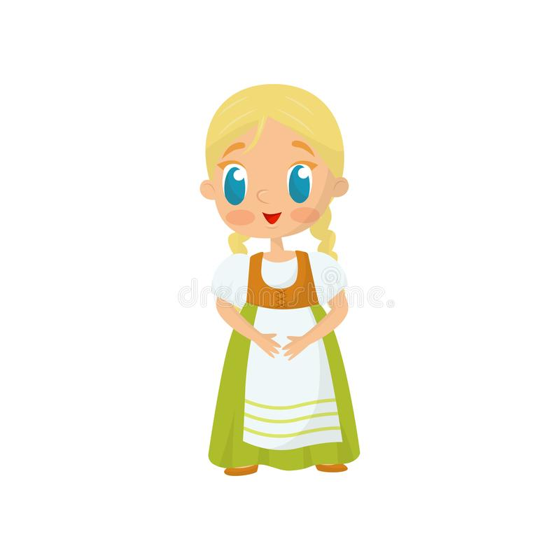 Flat vector icon of adorable girl with blond hair and blue eyes wearing fancy Bavarian dress. Costume for masquerade or. Adorable girl with blond hair and blue vector illustration