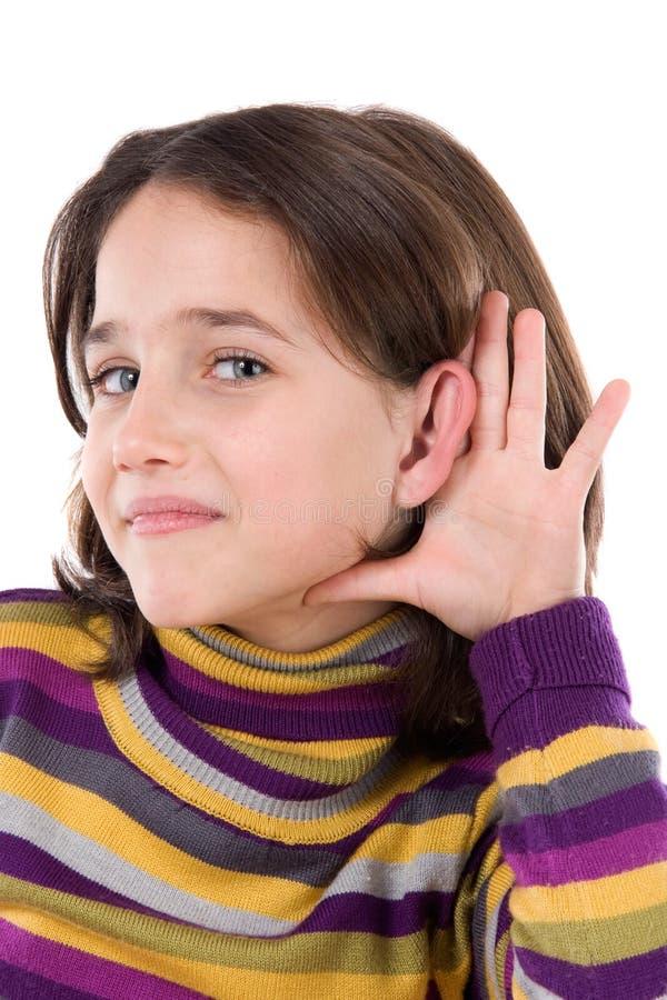 Adorable girl hearing royalty free stock photos