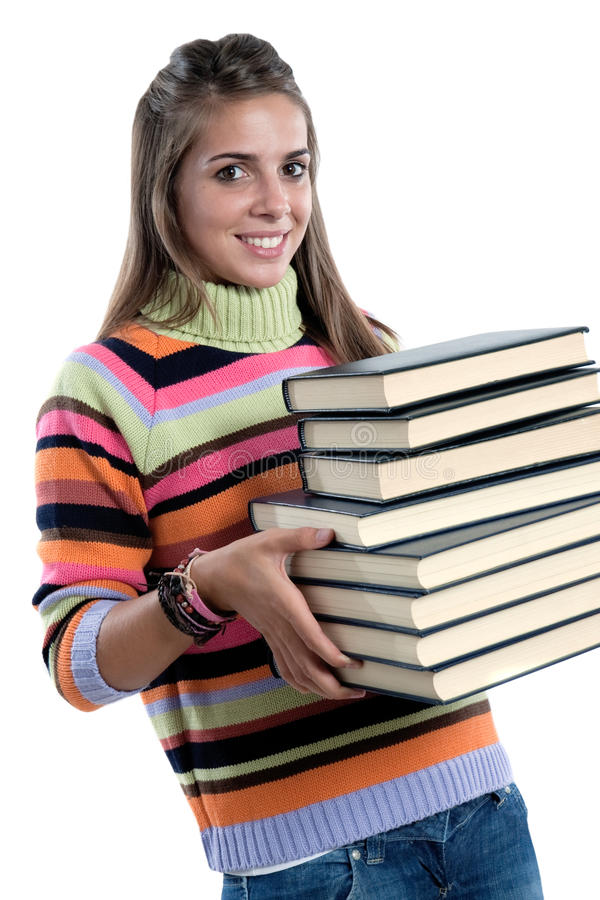 Adorable girl with many books. Isolated on a over white background royalty free stock photo