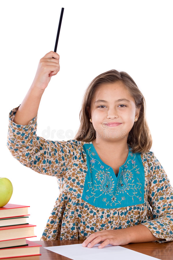 Adorable girl student asking to speak stock photos