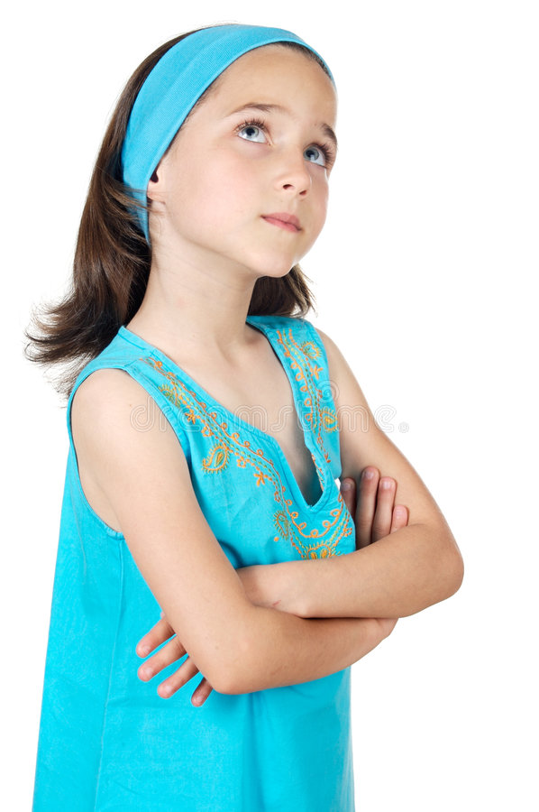 Download Adorable girl thinking stock photo. Image of isolation - 2565528