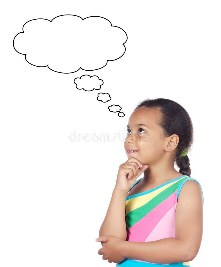 Adorable girl thinking stock image
