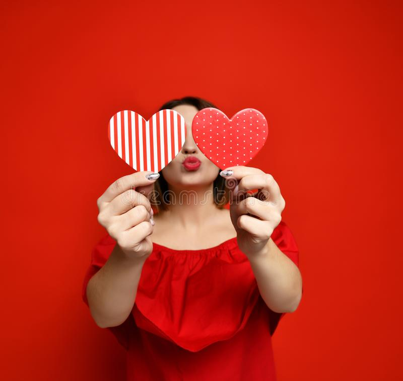 Free Adorable Girl With Valentine`s Day Heart Showing Love Fun Affection Portrait Stock Image - 138399101