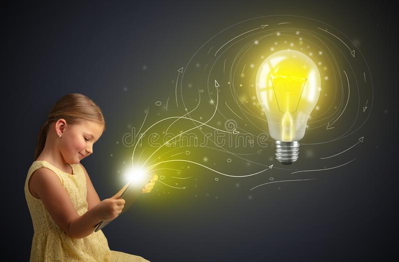Girl holding tablet with new idea concept royalty free stock photos
