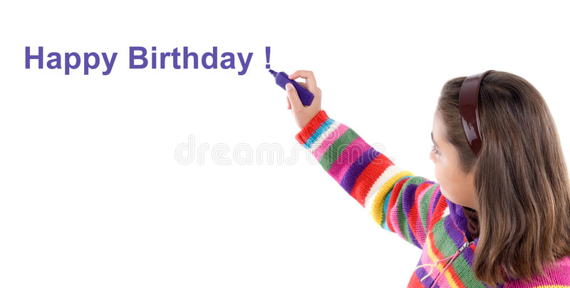 Adorable girl writing with fluorescent Happy Birth stock images