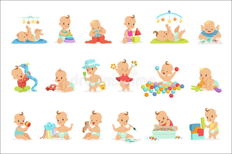 Adorable Girly Cartoon Babies Playing With Their Stuffed Toys And Development Tools Set Of Cute Happy Infants. Sweet Small Kids In Nappies Having Fun And stock illustration