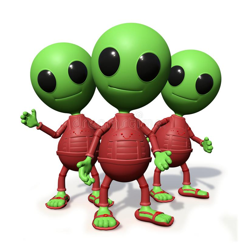 Group of cute little alien cartoon character watching, visitors form outer space 3d illustration, on white background. Adorable green extraterrestrials with red vector illustration
