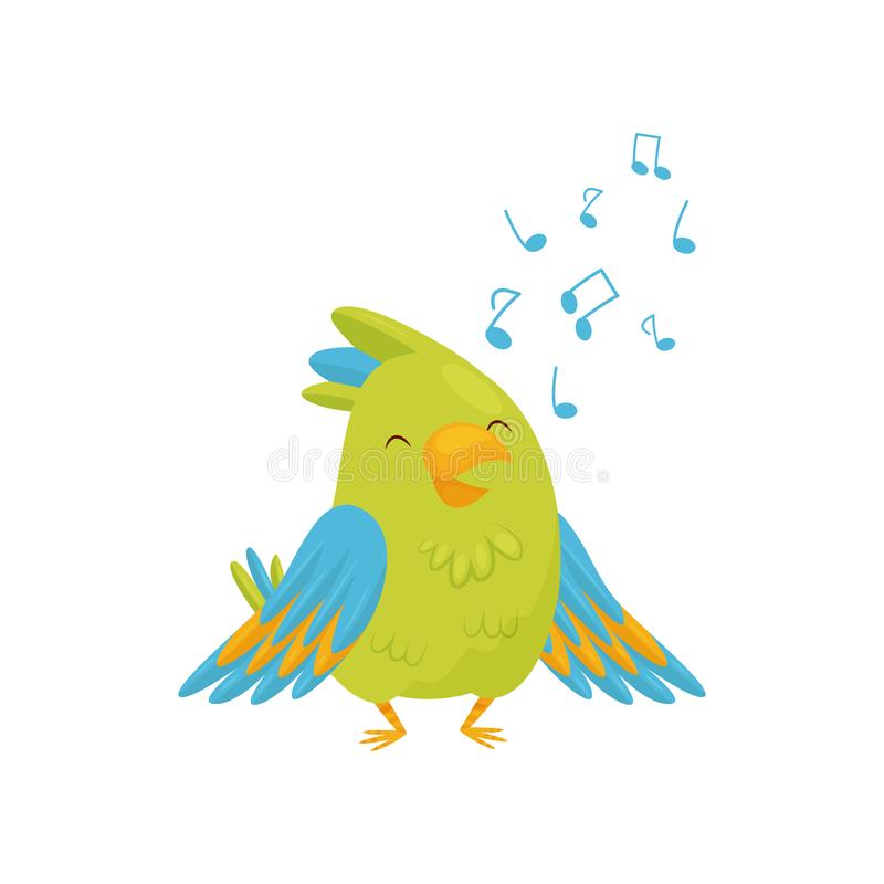 Adorable green parrot singing song. Cartoon bird character with bright green and blue feathers. Flat vector icon stock illustration