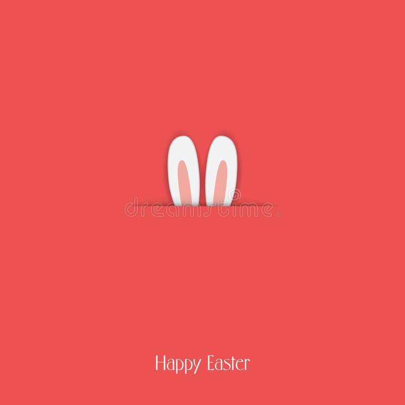 Adorable Happy Easter postcard template with bunny vector illustration